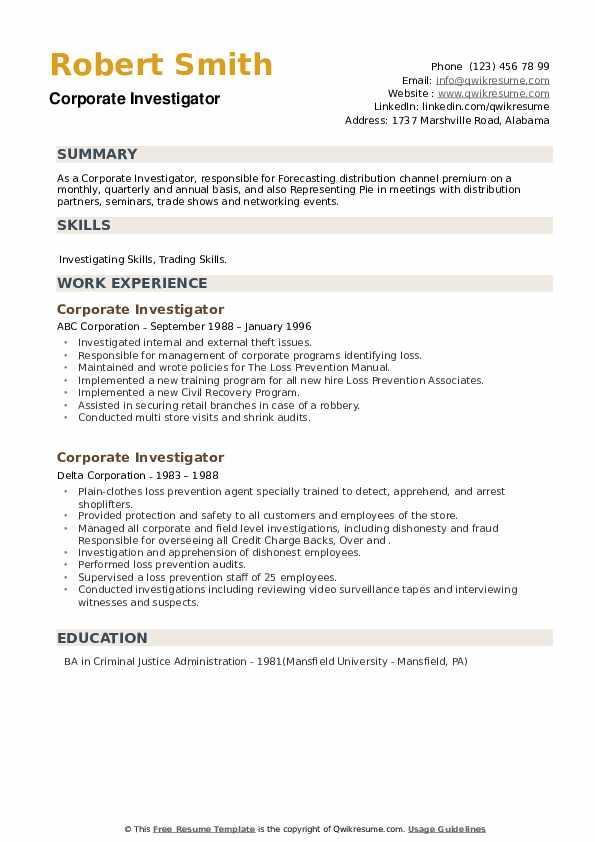 Corporate Investigator Resume example
