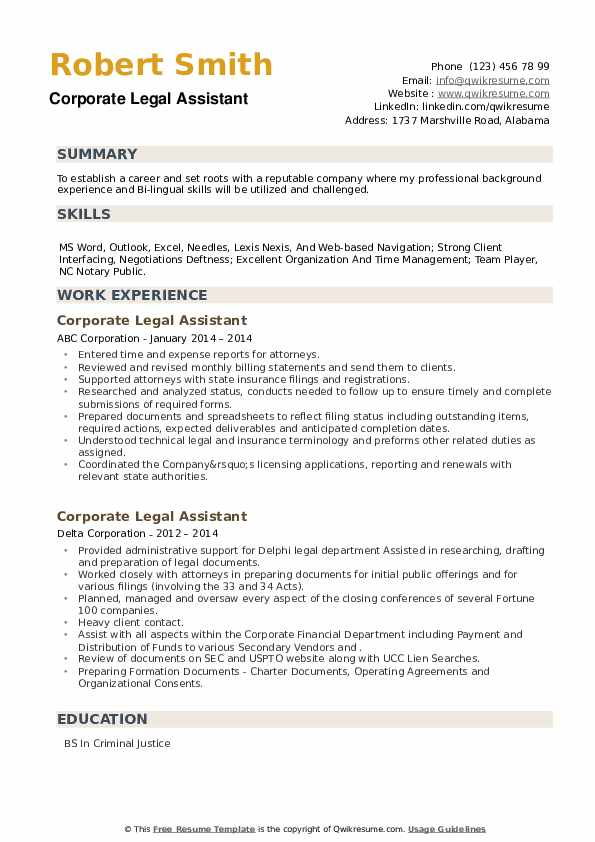 Corporate Legal Assistant Resume example