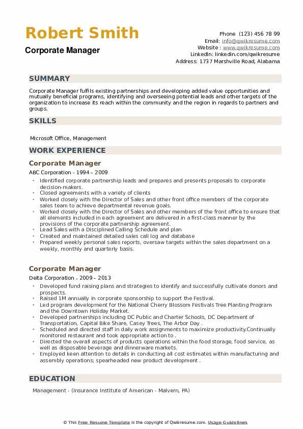 Corporate Manager Resume example