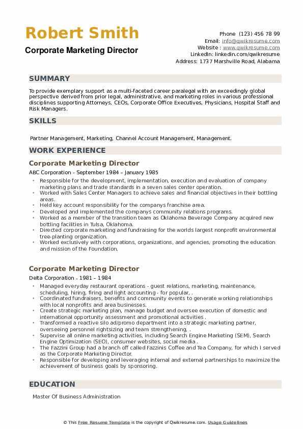 Corporate Marketing Director Resume example