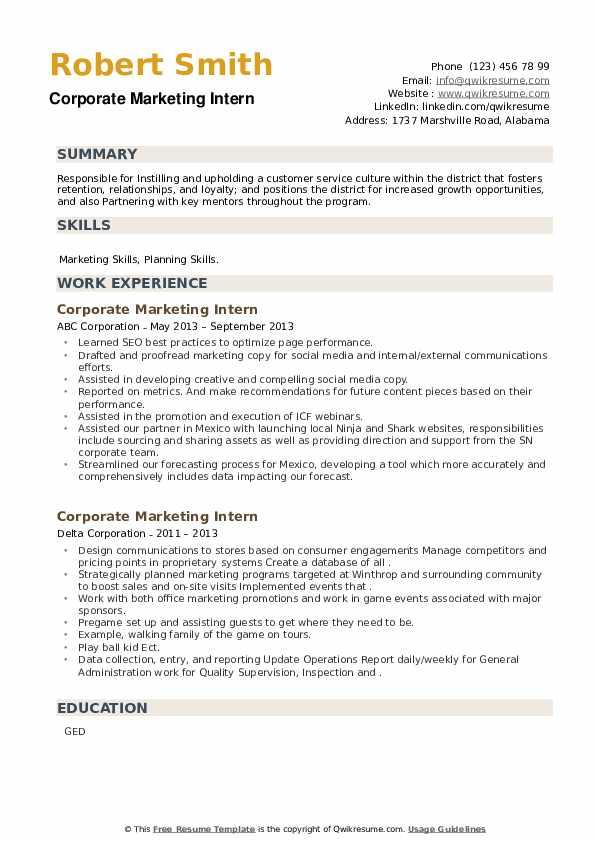 Corporate Marketing Intern Resume example