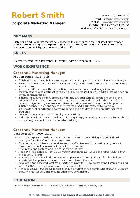 Corporate Marketing Manager Resume example
