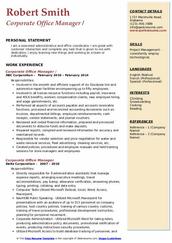 Corporate Office Manager Resume example