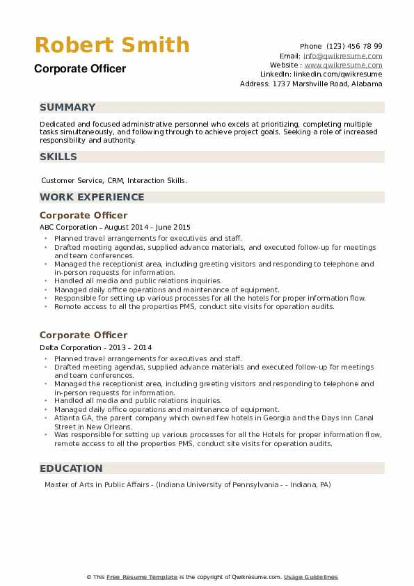 Corporate Officer Resume example