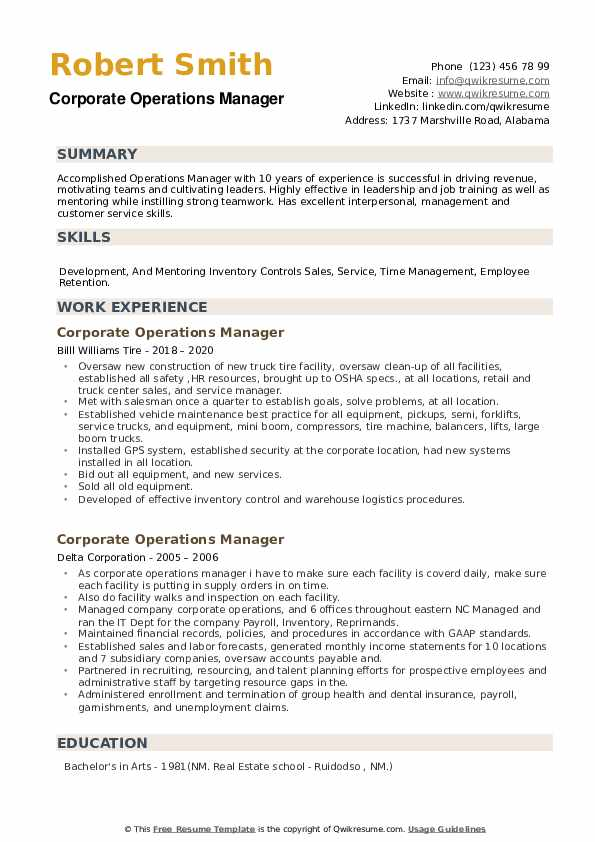 Corporate Operations Manager Resume example