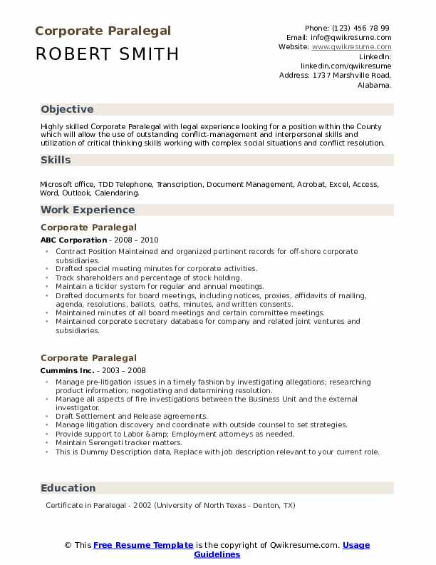 Corporate Paralegal Resume example