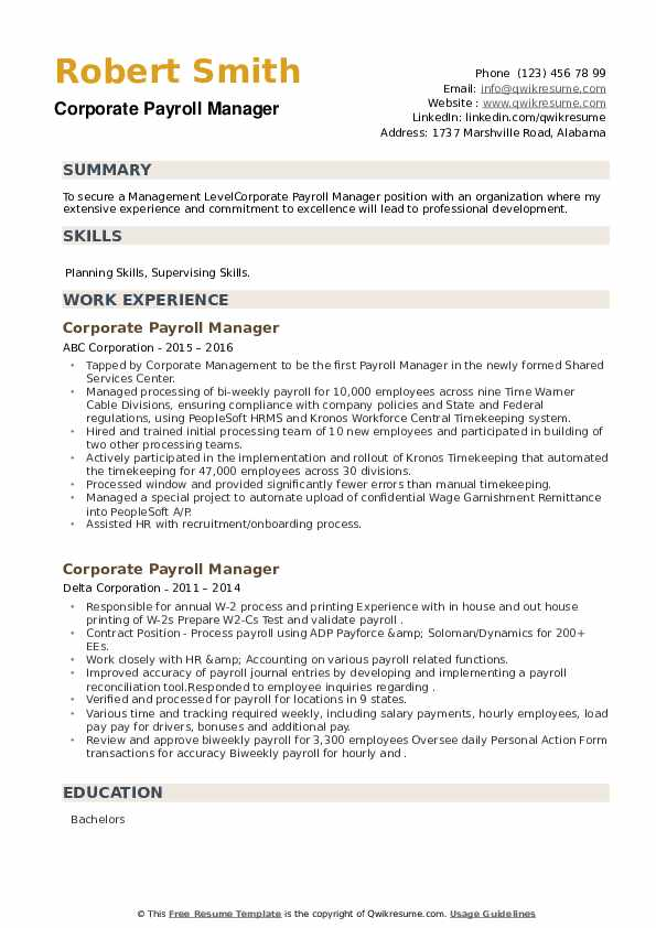 Corporate Payroll Manager Resume example