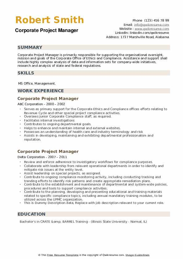 Corporate Project Manager Resume example
