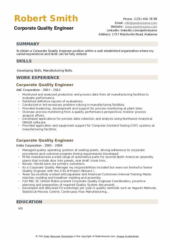 Corporate Quality Engineer Resume example