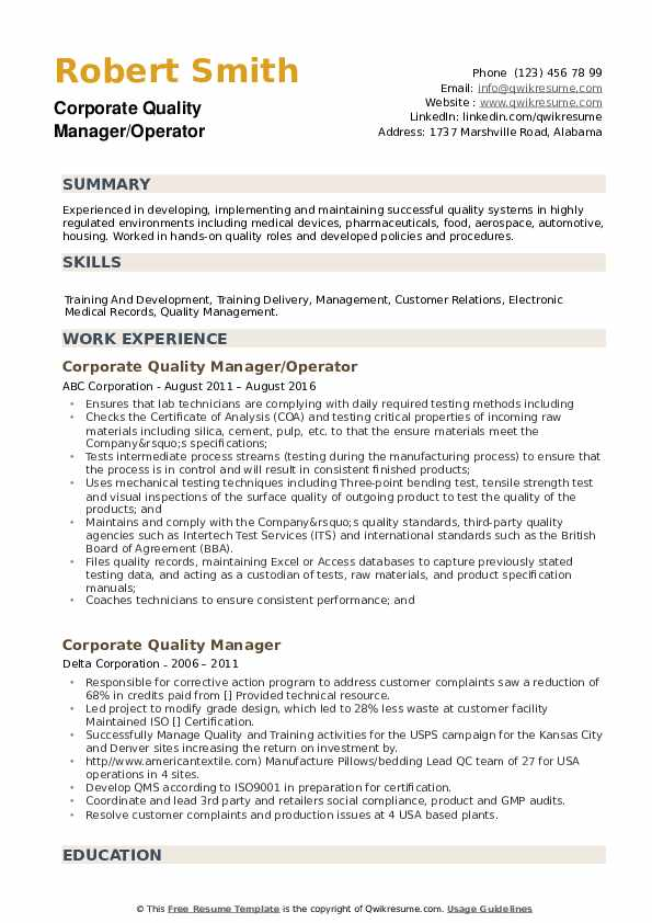 Corporate Quality Manager Resume example