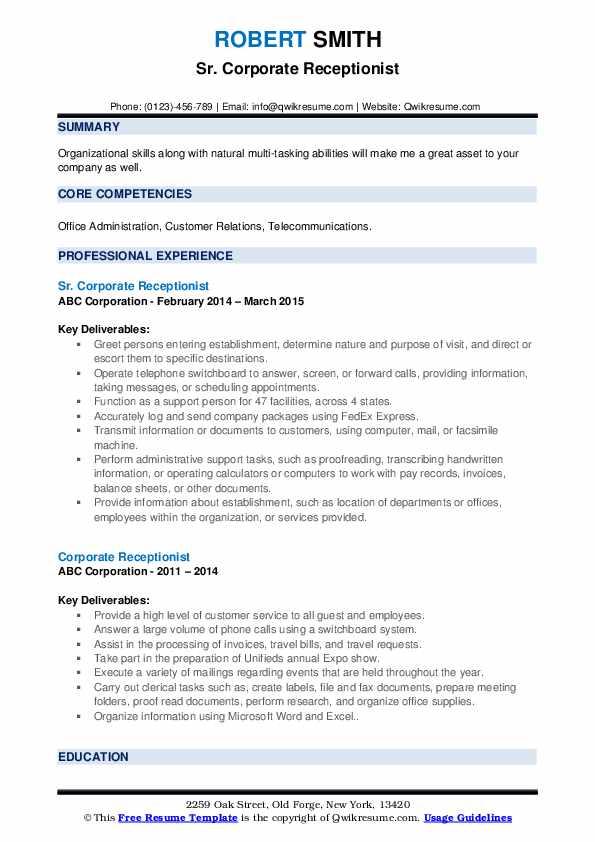 Sr. Corporate Receptionist Resume Format