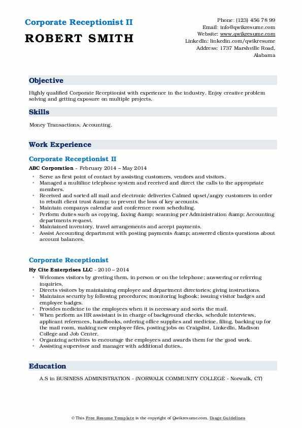 Corporate Receptionist II Resume Model