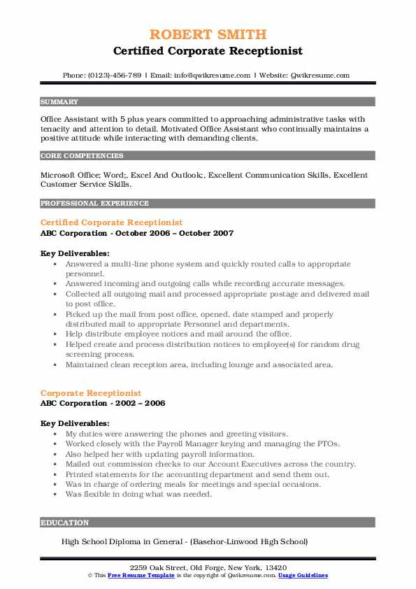 Certified Corporate Receptionist Resume Example