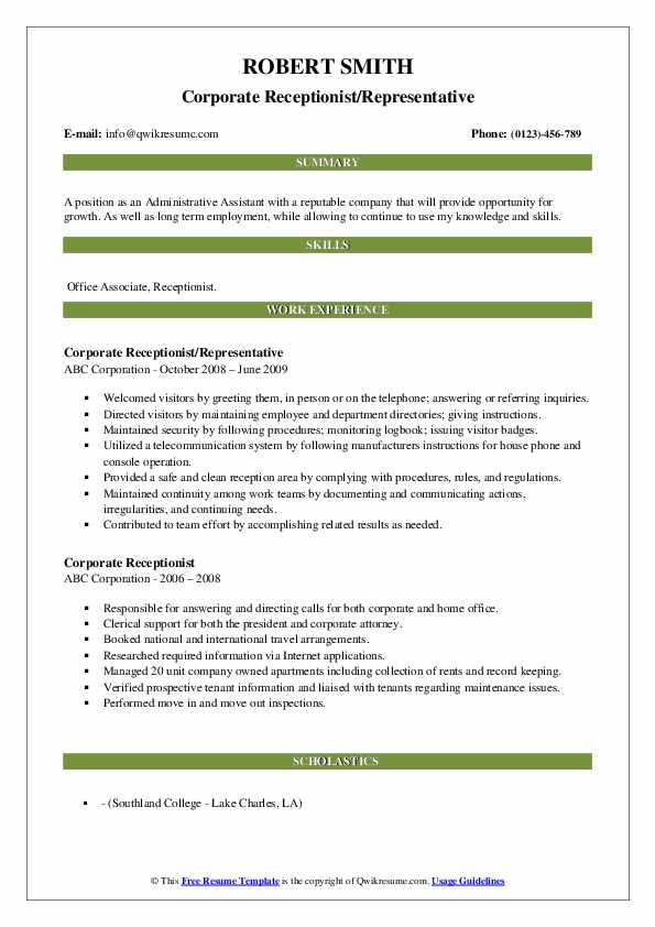 Corporate Receptionist/Representative Resume Sample