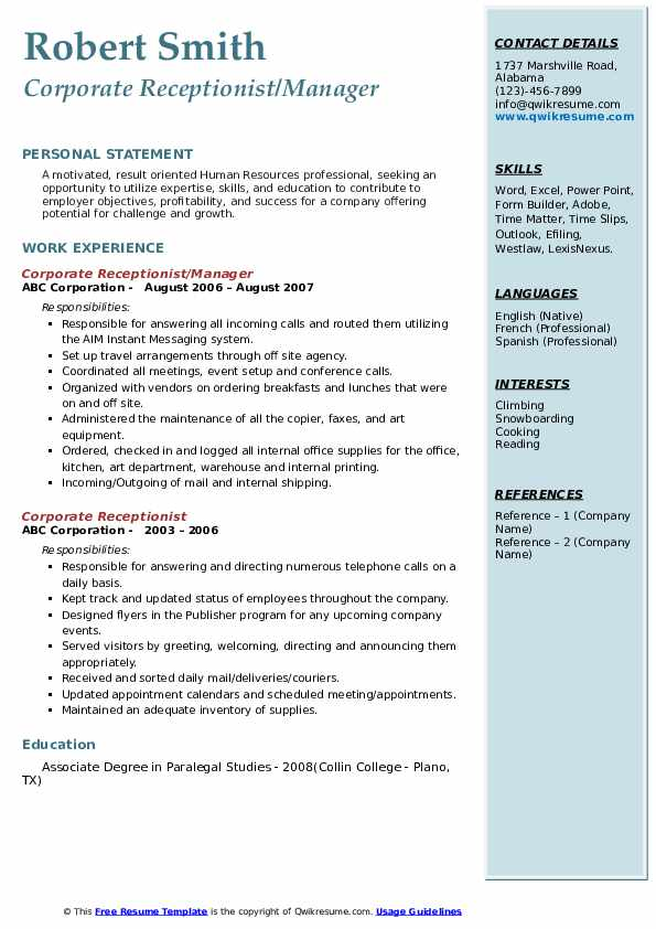 Corporate Receptionist/Manager Resume Format