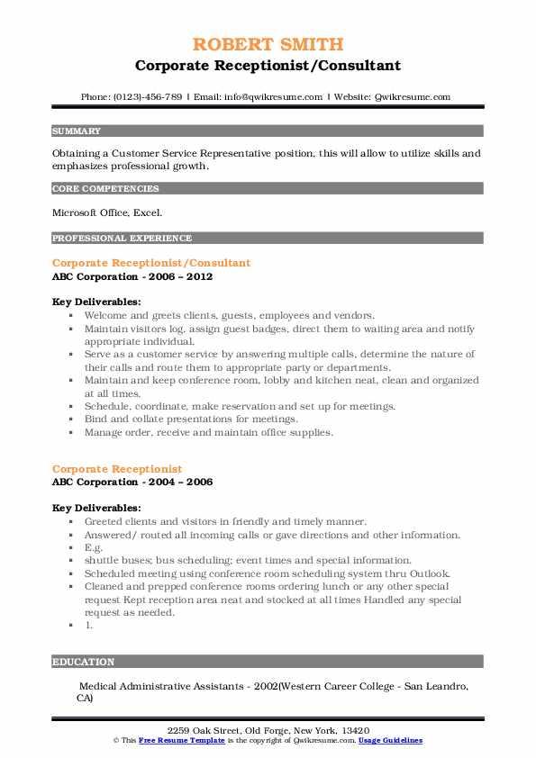 Corporate Receptionist/Consultant Resume Example