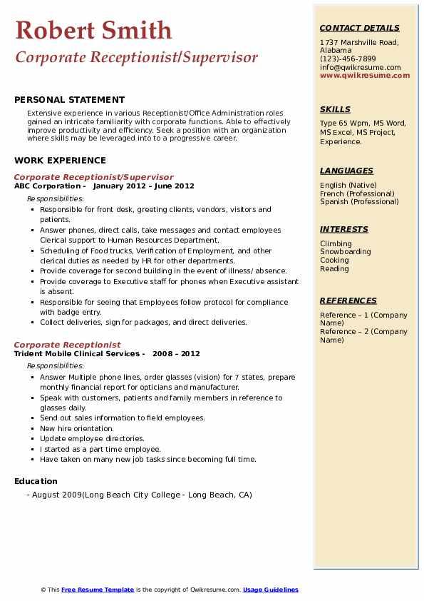 Corporate Receptionist/Supervisor Resume Format