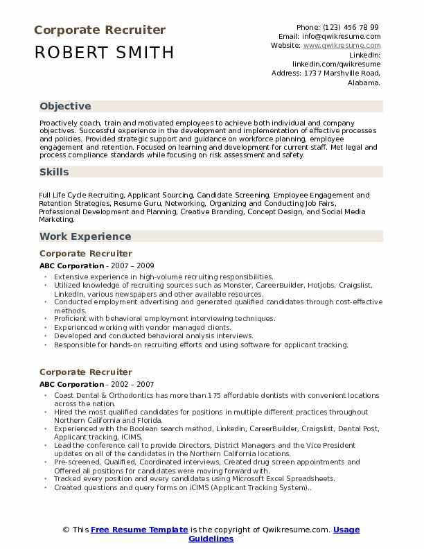 Recruiter Resume Sample | Corporate Recruiter Resume Samples Qwikresume