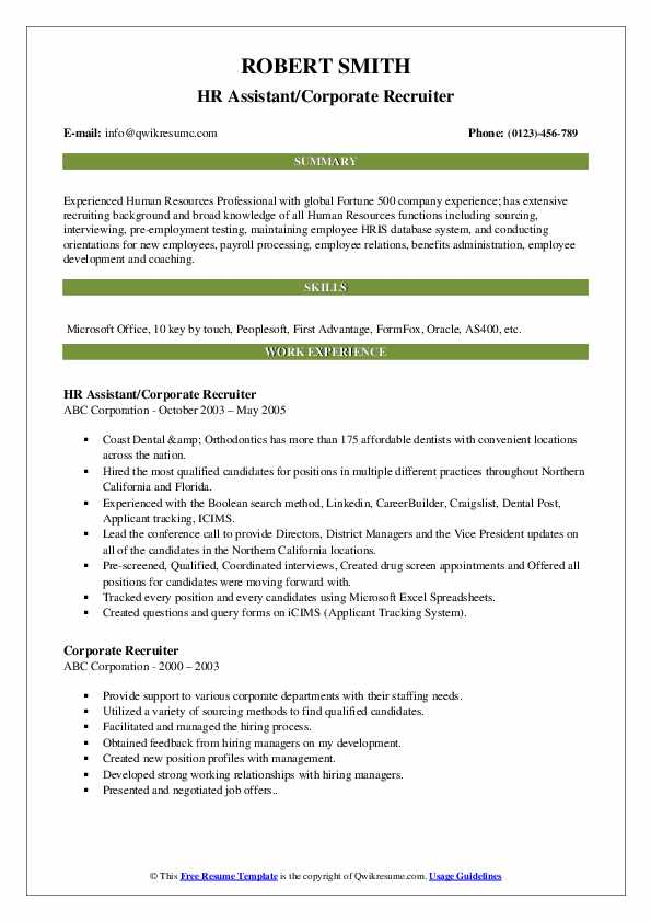 HR Assistant/Corporate Recruiter Resume Template