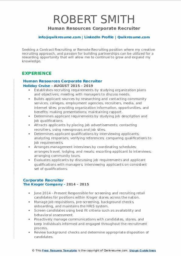 Human Resources Corporate Recruiter Resume Sample