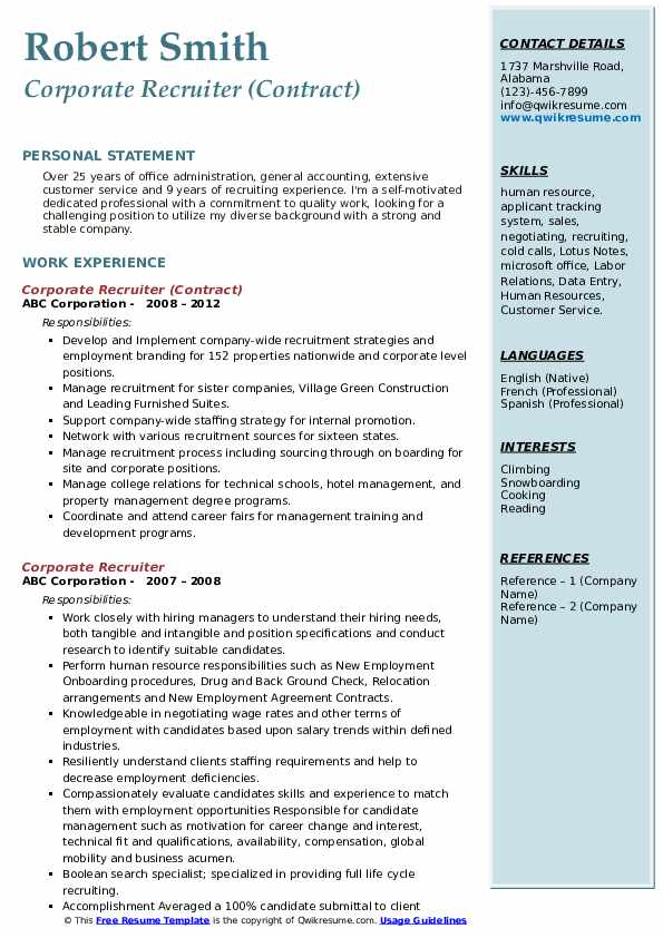 Corporate Recruiter (Contract) Resume Sample