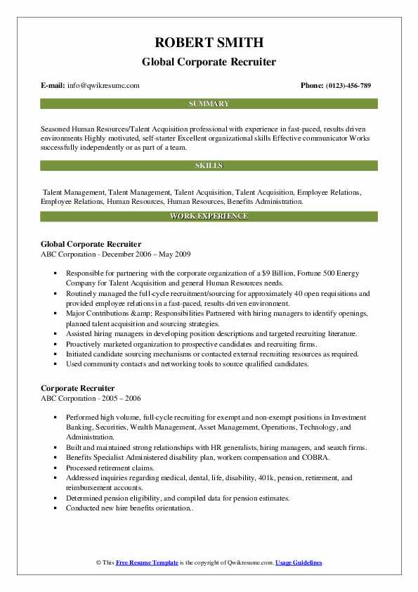 Global Corporate Recruiter Resume Model