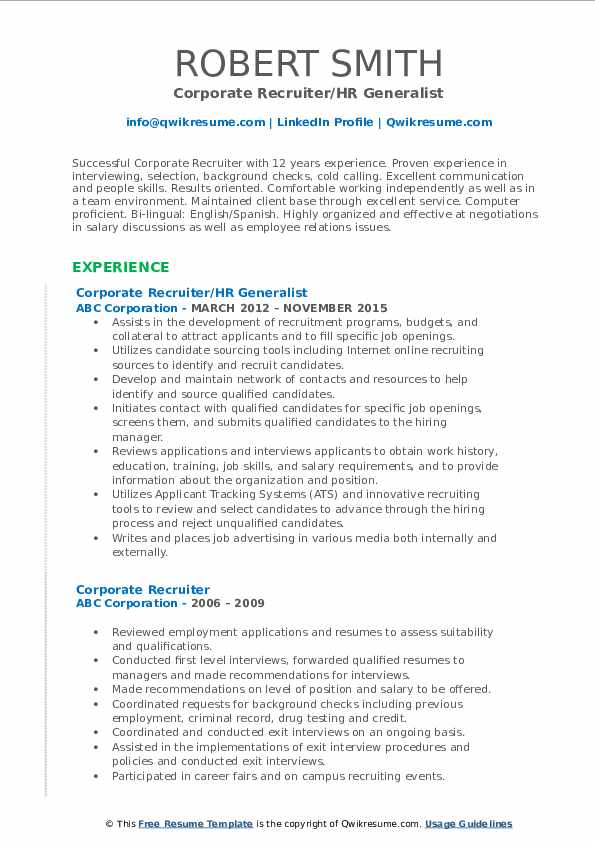 Corporate Recruiter/HR Generalist Resume Format