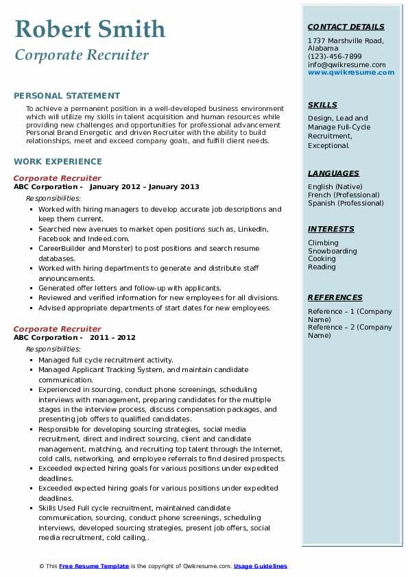 Corporate Recruiter Resume example