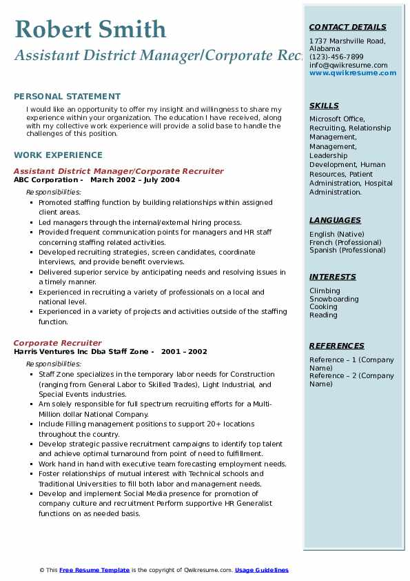 National Recruiting Manager Resume Example