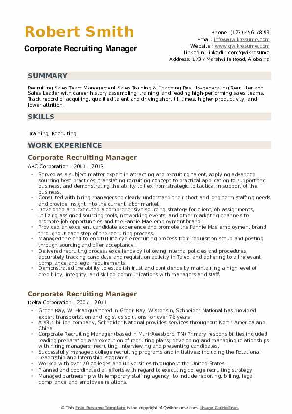 Corporate Recruiting Manager Resume example