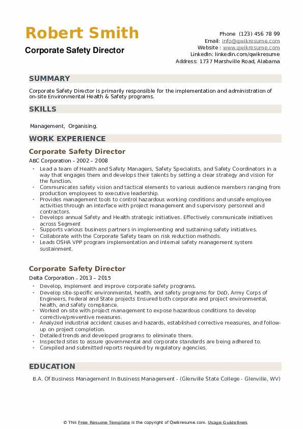 Corporate Safety Director Resume example