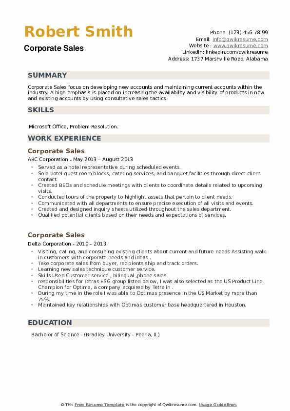 Corporate Sales Resume example