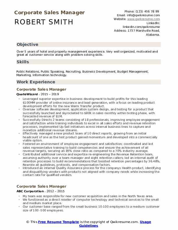 Corporate Sales Manager Resume Template