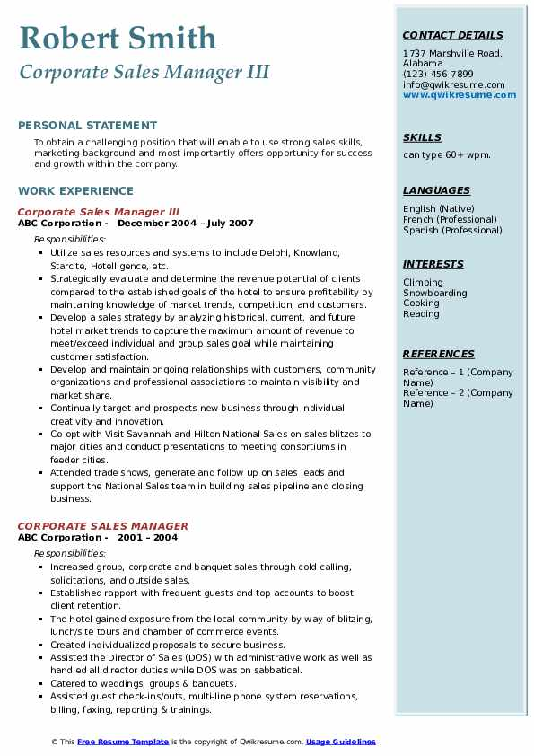 Corporate Sales Manager III Resume Template