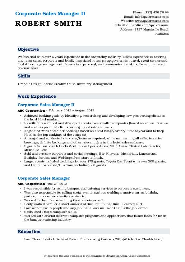 Corporate Sales Manager II Resume Example