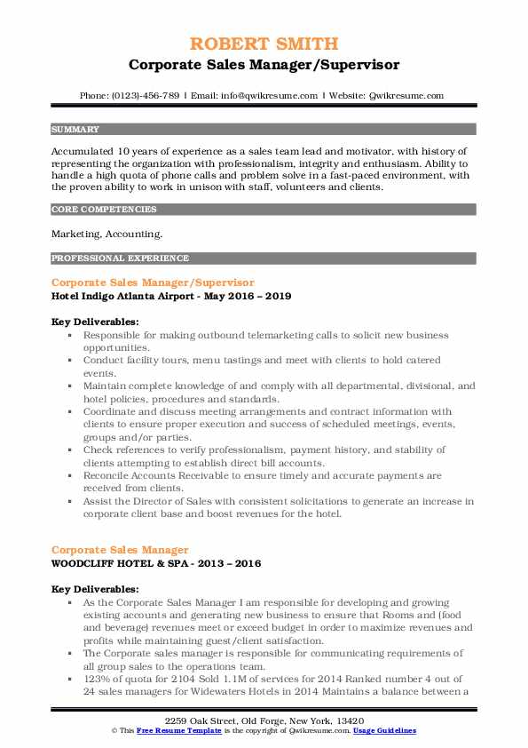 Corporate Sales Manager/Supervisor Resume Format