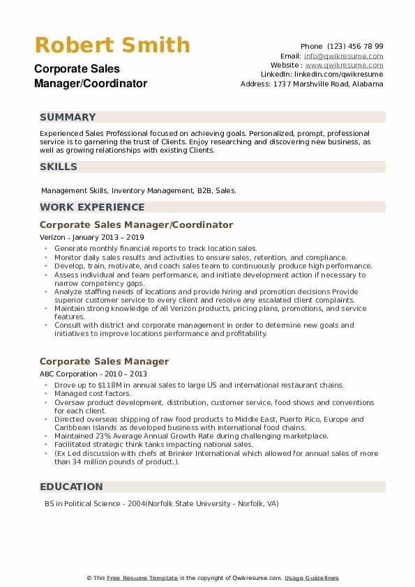 Corporate Sales Manager/Coordinator Resume Model