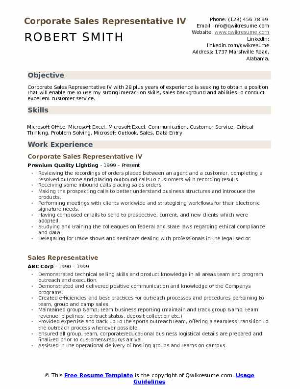 Corporate Sales Representative IV Resume Sample