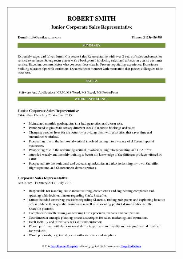 Junior Corporate Sales Representative Resume Format