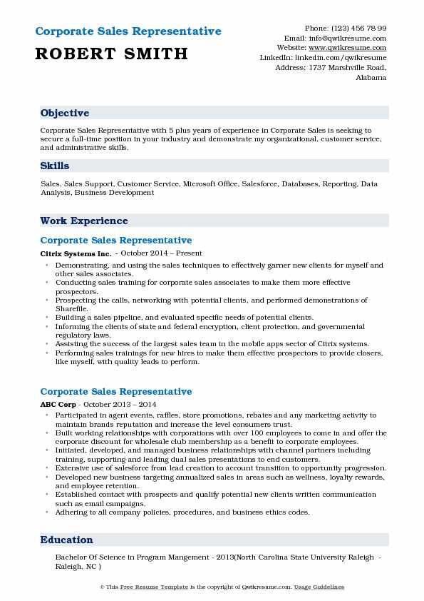 Corporate Sales Representative Resume Sample