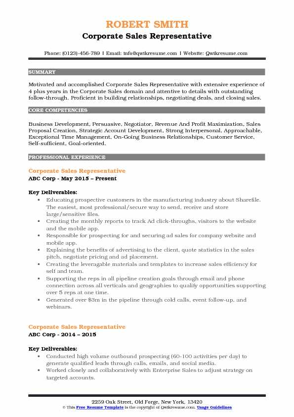 Corporate Sales Representative Resume Example