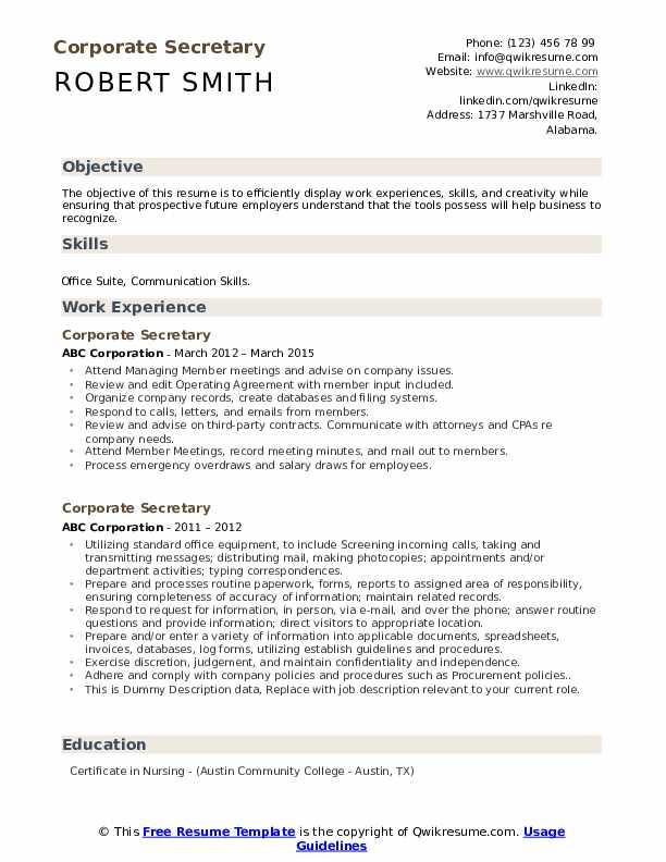 corporate secretary resume samples  qwikresume