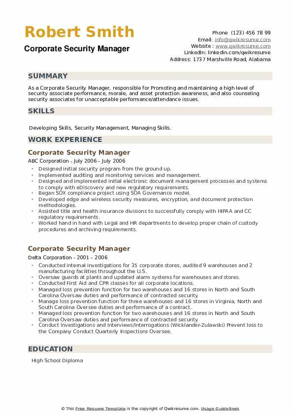 Corporate Security Manager Resume example