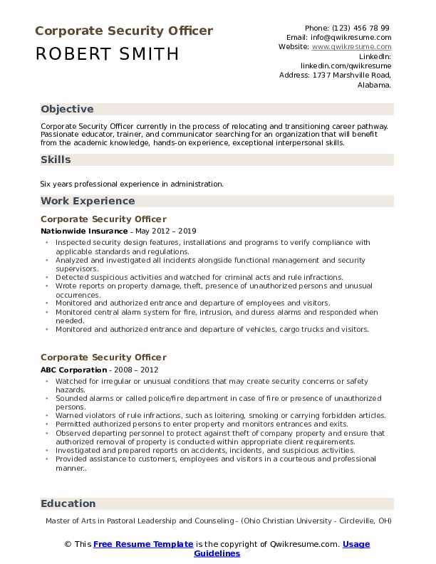 corporate security officer resume samples