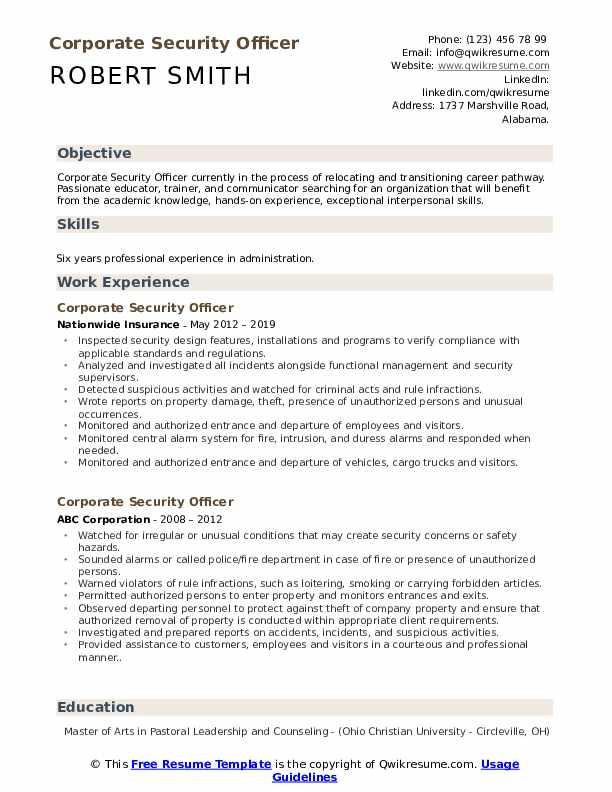 Security job resume template handmaid39s tale essay outline