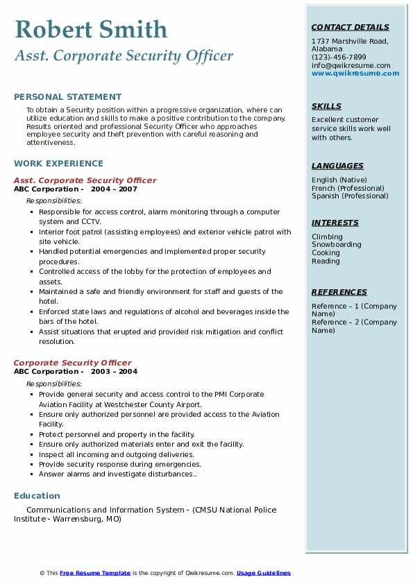 Corporate Security Officer Resume Samples Qwikresume