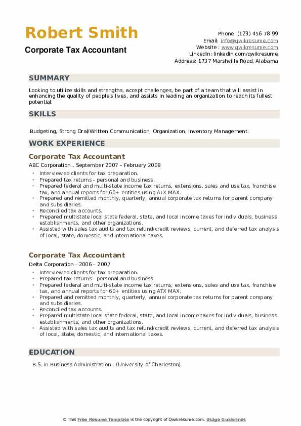 Corporate Tax Accountant Resume example