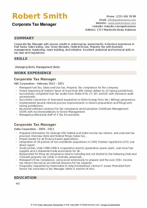 Corporate Tax Manager Resume example