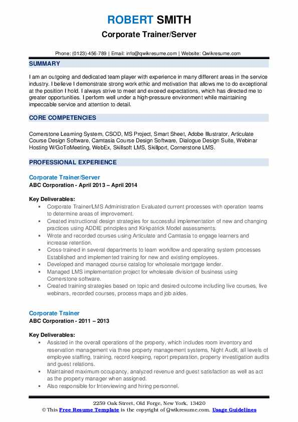 Corporate Trainer/Server Resume Template