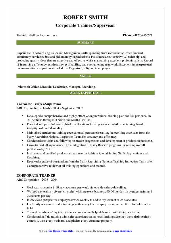 Corporate Trainer/Supervisor Resume Template
